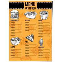 menu cibo ristorante modello di progettazione vettore