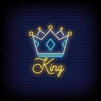 vettore del testo di stile delle insegne al neon del re