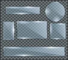 set realistico di lastre di vetro trasparente. foto realistica illustrazione vettoriale