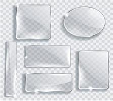 set di piatti di vetro. banner di vetro su sfondo trasparente. illustratore vettoriale 10