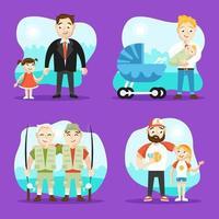 set di personaggi per la festa del papà vettore