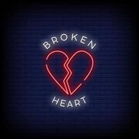 vettore del testo di stile delle insegne al neon del cuore spezzato