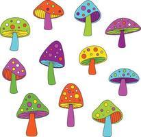 mod colori al neon illustrazioni vettoriali di funghi