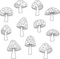 funghi disegnati a mano di contorno nero vettore
