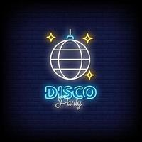 vettore del testo di stile delle insegne al neon della festa in discoteca