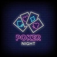 vettore del testo di stile delle insegne al neon di notte del poker