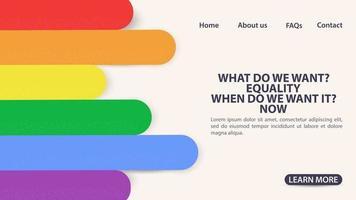 pagina di destinazione di un sito Web e app mobili bandiera arcobaleno spazio simbolo lgbt per informazioni e pulsanti di navigazione sul sito vettore