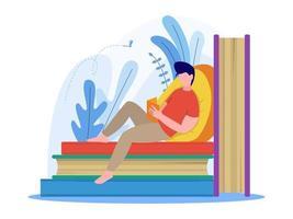 uomo che legge un libro e seduto su una pila di libri illustrazione vettore