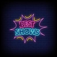 migliori showes insegne al neon stile testo vettoriale