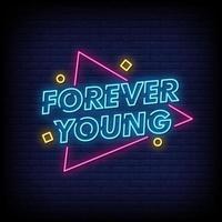 per sempre giovani insegne al neon stile testo vettoriale
