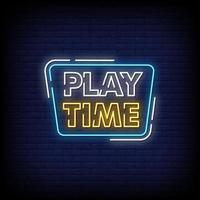 tempo di gioco insegne al neon stile testo vettoriale