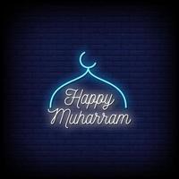 vettore felice del testo di stile delle insegne al neon di muharram