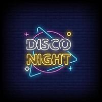 vettore del testo di stile delle insegne al neon di notte della discoteca