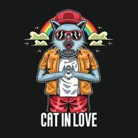 illustrazione della mano di simbolo di amore del gatto freddo vettore
