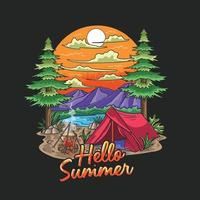 illustrazione di vacanza itinerante del campo estivo vettore