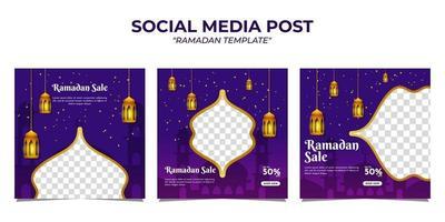 modello di post sui social media di vendita di ramadan vettore