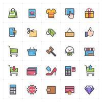 linea di shopping e commercio con icone di colore. Illustrazione vettoriale su sfondo bianco.