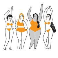 un gruppo di donne che sono diverse per etnia e colore della pelle vettore