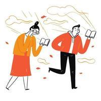 coppia che cammina leggendo un libro preferito vettore