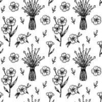 Modello senza cuciture di fiori di primavera con elementi di design disegnati a mano. illustrazione vettoriale in stile schizzo.