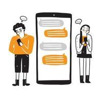 comunicazione, dialogo, conversazione su un forum online e concetto di chat su Internet. illustrazione vettoriale. vettore