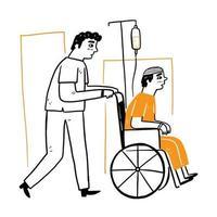 gli infermieri maschi aiutano i pazienti a spingere la sedia a rotelle vettore