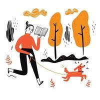 la donna che cammina cane leggendo un libro preferito vettore