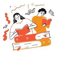 coppia che legge un libro preferito vettore