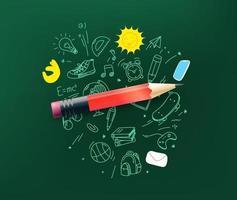 matita con elementi scarabocchi. torna al concetto di scuola vettore