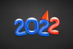 felice nuovo biglietto di auguri 2022 con mongolfiere vettore