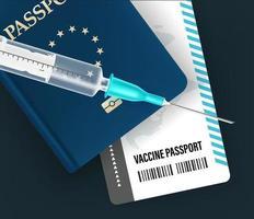 concetto di passaporto di vaccinazione. Illustrazione vettoriale di stile 3D
