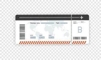 mockup di vettore della carta d'imbarco della carta di volo isolato