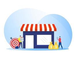 uomo d'affari che offre franchising, illustrazione piana di vettore di concetto di affari del negozio della rete commerciale
