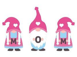 tre gnomi che tengono la parola della mamma sull'illustratore di vettore di giorno di madri.
