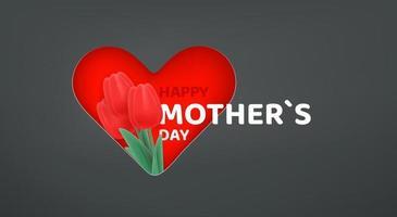 banner vettoriale felice festa della mamma. effetto cut out con tulipani