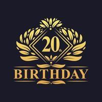 Logo di compleanno di 20 anni, celebrazione del ventesimo compleanno dorato di lusso. vettore