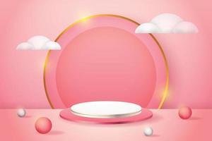 Prodotto 3D display podio rosa e bianco con cerchi e nuvole bianche vettore