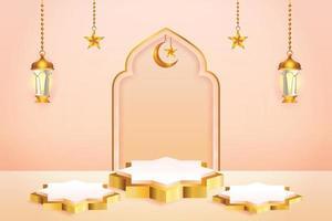 Esposizione del prodotto 3d color pesca e podio in oro a tema islamico con falce di luna, lanterna e stella per il ramadan vettore