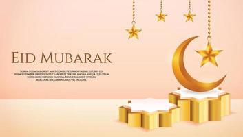 Esposizione del prodotto 3d color pesca e podio d'oro islamico a tema con falce di luna e stella per il ramadan vettore