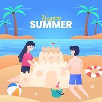 bambini che fanno castelli di sabbia in spiaggia vettore
