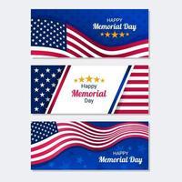 collezione di banner per il memorial day degli Stati Uniti vettore