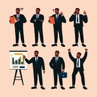 set di caratteri di uomo d'affari in varie attività vettore