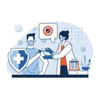 medico che inietta il vaccino a un paziente vettore