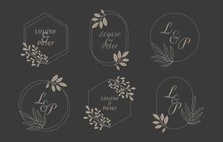 collezione di modelli di logo monogramma di nozze vettore