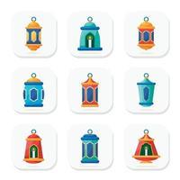collezione di icone di lanterna islamica vettore