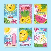 simpatica collezione di carte estive vettore