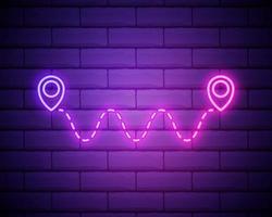 icona di posizione del percorso al neon incandescente isolato su sfondo muro di mattoni. segno del puntatore della mappa. concetto di percorso o strada. navigatore gps. vettore
