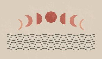 stampa d'arte moderna minimalista della metà del secolo con forma naturale organica. astratto sfondo estetico contemporaneo con fasi lunari geometriche e mare. decorazione della parete boho. vettore