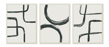 modelli contemporanei con forme astratte organiche e linea in colori retrò. sfondo pastello boho in illustrazione vettoriale stile minimalista metà secolo