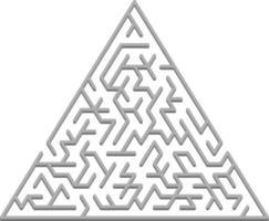 modello di vettore con un labirinto 3d triangolare grigio, puzzle.